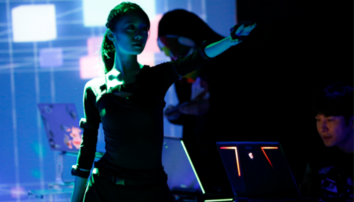A dancer performs with Perception Neuron motion capture at J-wave Innocation Festival in Japan 2019.