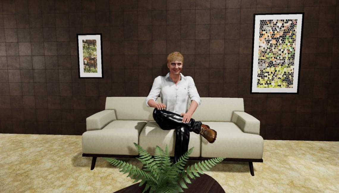 A sim character provides a real-time virtual therapy session using Perception Neuron motion capture.