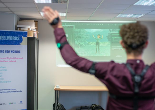 Students in Belfast work with motion capture technology by Noitom.